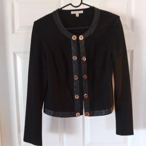 CAbi Black Jacket Sz M Gold Button Leather Accent